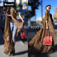 Free shipping 2014 New Brand design Jennifer Lopez long maxi Boho 6XL Plus Size Leopard Print Beach Cover Up shirt dresses