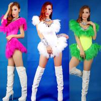 2014 Fashion Women Singer DJ  Costume Diamond Feather Coverall Hot Sale Free Shipping XTZ003