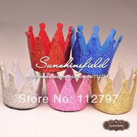 Trial Order Mini Felt Baby Birthday Crown, Glitter Felt Crown , First Birthday Hat,30pcs/LOT QueenBaby