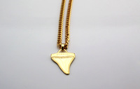 Free shipping Gilded gold shark tooth necklace  chain