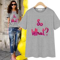 Summer letter print 100% female cotton short-sleeve t-shirt loose plus size chest sequin top