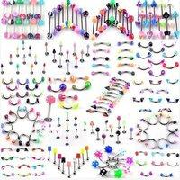 Body Jewelry 316 UV Barbell Piercing Body Piercing Jewelry 105pcs/lot Eyebrow Belly Piercing Free Shipping