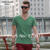 2014 summer new arrival fashion personality fashion brief V-neck roll-up hem solid color short-sleeve T-shirt