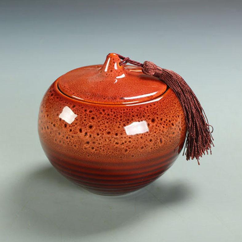 Cerâmica caddy chá único vasilha tanque de armazenamento de presente decoração forno lata redonda(China (Mainland))