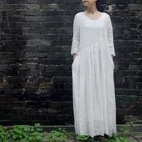 FREE SHIPPING High Quality Ramle One-piece Dress Three Quarter Sleeve Full Dress 2014 Summer Female