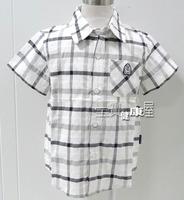 38 benkala blxs006 male child short-sleeve plaid shirt