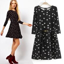 Spring fashion women's pattern slim waist three quarter sleeve basic one-piece dress