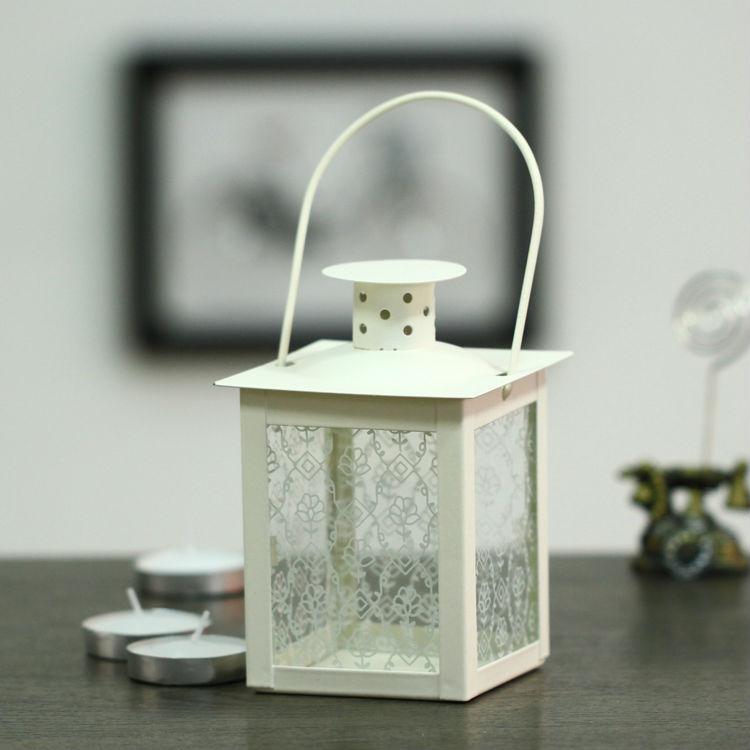 Free shipping vintage white hurricane lamp wrought iron candle holder holiday supplies metal lanterns wedding(China (Mainland))