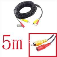5 pcs/lot 5M Security RCA Power Audio Video AV Cable CCTV Camera