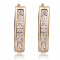 18k Rose Gold Gp Clear Crystal Zircon CZ Earrings  KKE8675