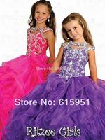 2014 New Arrival Halter Neckline Beaded Sequined Little Girls Pageant Dress Pleated Ball Gown Organza Flower Girls Dress JY023