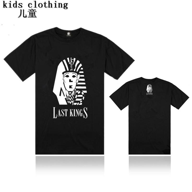 Kids fashion clothing lastkings cotton short sleeve t-shirt children girl boy hip hop tee shirts cheap sale black print tee tops(China (Mainland))
