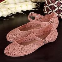 women Flower cutout sandals shoes flat heel crystal plastic sandals rain boots jelly shoes bird's-nest shoes women's shoes