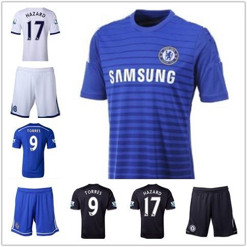 2014 New Free Shipping Chelsea Home Away Soccer Jerseys Embroidery Logo football shirts TORRES COLE AZPILICUETA BA MATIC HAZARD(China (Mainland))