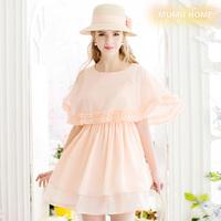 Gentlewomen o-neck cape sleeve chiffon high waist slim one-piece dress