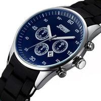 Free Shipping by hk post SKMEI 9065 Fashion Men's Wrist Watch With Calendar Silicon Band Quartz Analog Luxury Watches