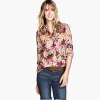 Fashion flowers printed chiffon blouse women 2014 new fashion lady casual wear haoduoyi  Blouses & Shirts free shipping