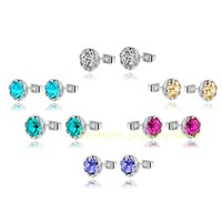 For 6 Colors Exquisite Crystal With AAA Zircon Elegant Women Party Banquet 18k White Gold GP Earrings Studs  KKE210