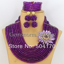 Luxury Radiant Orchid Wedding Beads Jewelry Set Purple African Beads Jewelry Set Bridal Jewelry Set Free