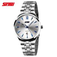 Free Shipping by hk post skmei 9071 brand new fashion genuine business calendar quartz watch , men full steel watch