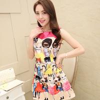 2014 Free Shipping Summer Dress New Female Women Ladies Cat Pattern Round Neck Sleeveless Dress Size S M L XL Soft Touch