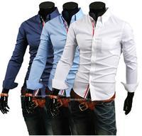 Hot Sales!!!Free Shipping 2014 New fashion Men's casual long sleeve shirt male,slim fit stylish shirt ,9007
