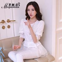 Summer slim lace shirt gentlewomen lace half sleeve top doll princess basic shirt