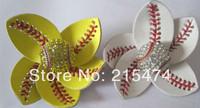 Softball Flower Accessory and hair clip,softball hair bows,softball hairbow,baseball hairbow