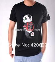 New Arrival 2014 Men Fashion Brand Basketball Tee Shirt Summer Sport Short Sleeve Cotton Jordan T Shirt Cartoon Panda Print