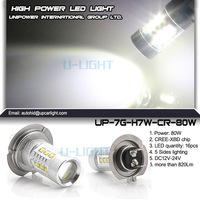 Free shipping 2pcs/lot high power H7 led cree light 80W LED fog light 12V 24V waterproof IP68