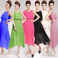 New 2014 summer chiffon wedding Dress Women's Elegant candy colored empire waist dress ankle-length sleeveless evening dress/WTL