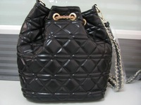 14 Women Handbag National Trend Bohemia Style Print Chain Drawstring Bucket Bag Women Messenger Lattice Chain Bag Classic Black