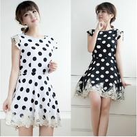 2014 spring women's lace patchwork slim chiffon sleeveless one-piece dress female elegant basic skirt