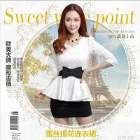 2014 low collar slim cummerbund bow vintage small lace print top belt