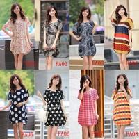 Plus size clothing short-sleeve print plus size medium-long plus size mm maternity clothing one-piece dress