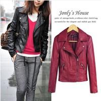 2014 spring women's PU women motorcycle clothing female short design slim leather jacket coat black wine red