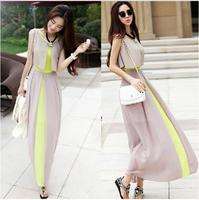 2014 summer women's slim full dress bohemia faux two piece chiffon elegant one-piece dress