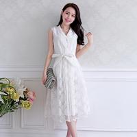 2014 summer organza sleeveless one-piece dress ladies dress suspender skirt expansion bottom sheds female