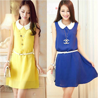 2014 spring female summer candy color plus size slim doll turn-down collar sleeveless chiffon one-piece dress with belt