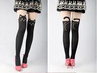Factory Price! Women Cute Cat Tail kitten Knee High Tattoo Stockings Mock Suspender Tights S-25