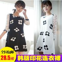 2014 spring sweet lace patchwork cutout plus size chiffon print loose long-sleeve dress