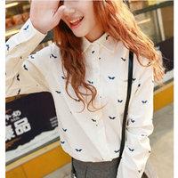 2014 spring women shirt all-match long-sleeve turn-down collar slim women's white shirt