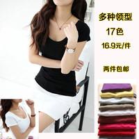 Summer slim white cotton basic shirt o-neck women's short-sleeve T-shirt