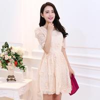 2014 spring and summer women's organza short-sleeve lace patchwork women's slim one-piece dress princess dress