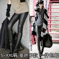2 9.9 plus size clothing plus velvet pants patchwork legging pencil pants skinny pants boot cut jeans