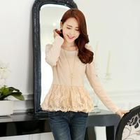 Spring 2014 slim organza lace top patchwork skirt long-sleeve chiffon shirt