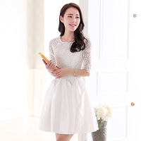 2014 spring ladies elegant women's dress half sleeve lace spring and autumn puff skirt one-piece dress
