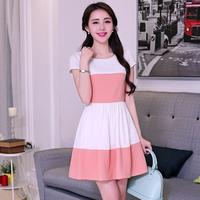 2014 summer elegant women's short-sleeve slim color block stripe one-piece dress linen o-neck a-line skirt