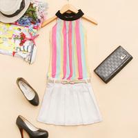 - c452 2014 spring women's stand collar stripe shirt chiffon bust skirt twinset d-10