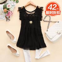 - c358 2014 spring women's o-neck ruffle hem crochet vest chiffon shirt d-14